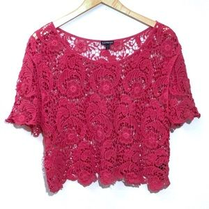 EXPRESS Pink Cropped Crochet Top
